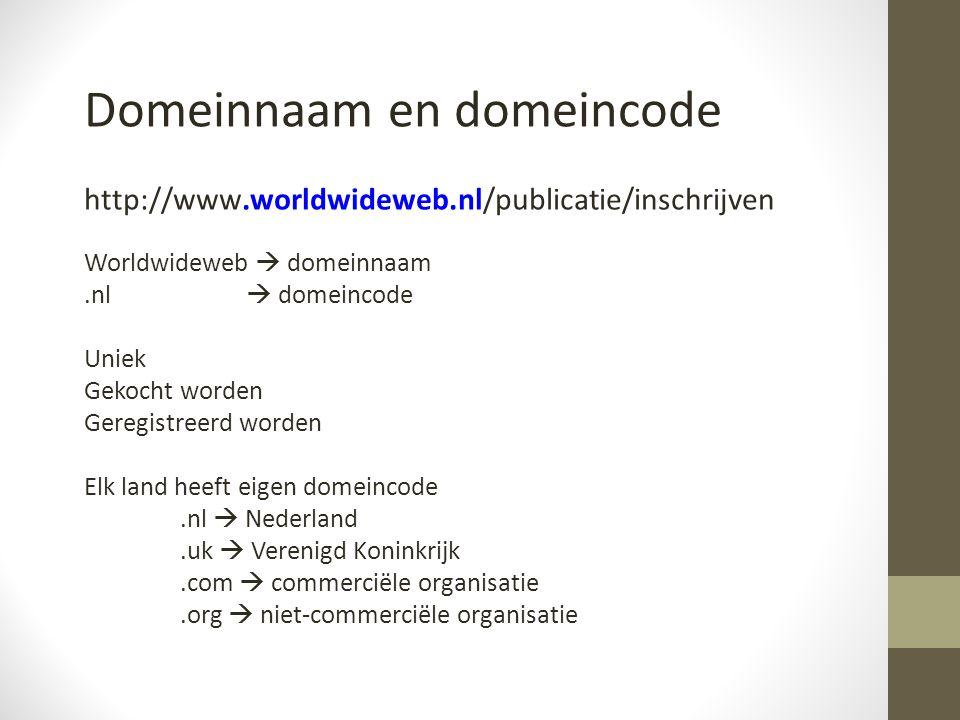 Domeinnaam en domeincode http://www.worldwideweb.nl/publicatie/inschrijven Worldwideweb  domeinnaam.nl  domeincode Uniek Gekocht worden Geregistreerd worden Elk land heeft eigen domeincode.nl  Nederland.uk  Verenigd Koninkrijk.com  commerciële organisatie.org  niet-commerciële organisatie