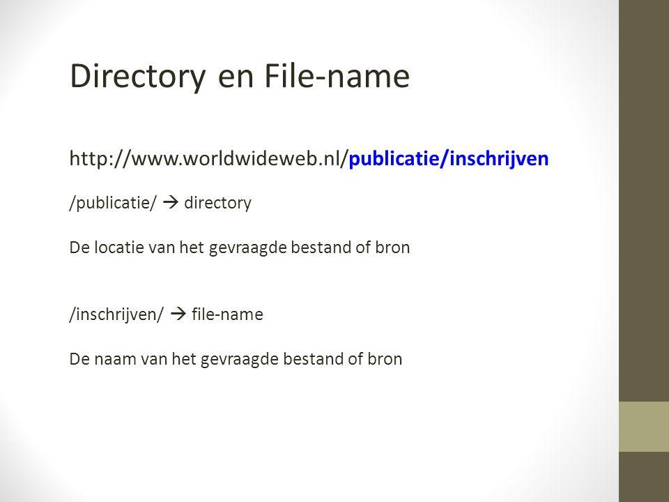 Directory en File-name http://www.worldwideweb.nl/publicatie/inschrijven /publicatie/  directory De locatie van het gevraagde bestand of bron /inschrijven/  file-name De naam van het gevraagde bestand of bron