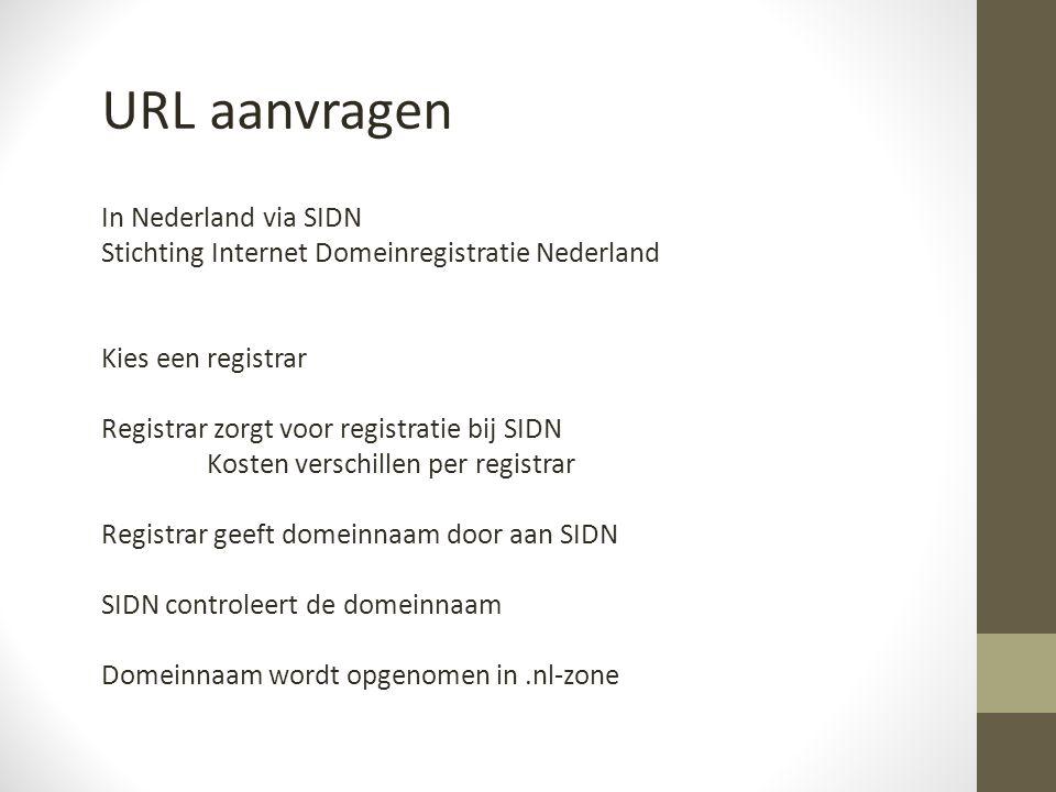 URL aanvragen In Nederland via SIDN Stichting Internet Domeinregistratie Nederland Kies een registrar Registrar zorgt voor registratie bij SIDN Kosten verschillen per registrar Registrar geeft domeinnaam door aan SIDN SIDN controleert de domeinnaam Domeinnaam wordt opgenomen in.nl-zone