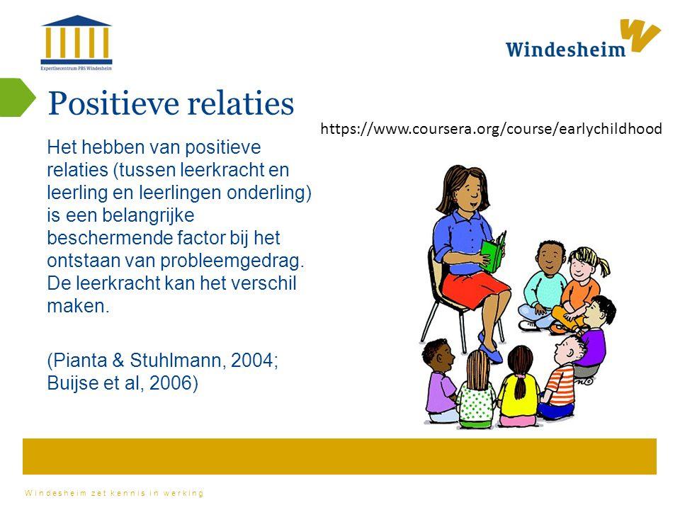 Windesheim zet kennis in werking Positieve relaties Het hebben van positieve relaties (tussen leerkracht en leerling en leerlingen onderling) is een belangrijke beschermende factor bij het ontstaan van probleemgedrag.