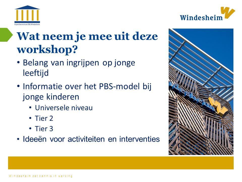 Windesheim zet kennis in werking Wat neem je mee uit deze workshop.