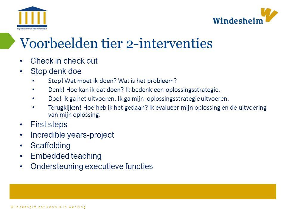 Windesheim zet kennis in werking Voorbeelden tier 2-interventies Check in check out Stop denk doe Stop.