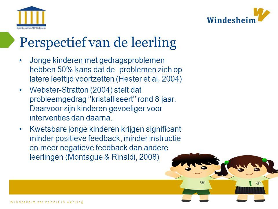 Windesheim zet kennis in werking Perspectief van de leerling Jonge kinderen met gedragsproblemen hebben 50% kans dat de problemen zich op latere leeftijd voortzetten (Hester et al, 2004) Webster-Stratton (2004) stelt dat probleemgedrag ''kristalliseert'' rond 8 jaar.