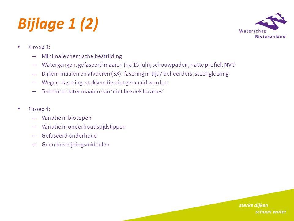 Bijlage 1 (2) Groep 3: – Minimale chemische bestrijding – Watergangen: gefaseerd maaien (na 15 juli), schouwpaden, natte profiel, NVO – Dijken: maaien