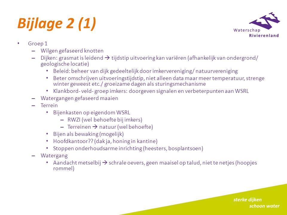Bijlage 2 (1) Groep 1 – Wilgen gefaseerd knotten – Dijken: grasmat is leidend  tijdstip uitvoering kan variëren (afhankelijk van ondergrond/ geologis