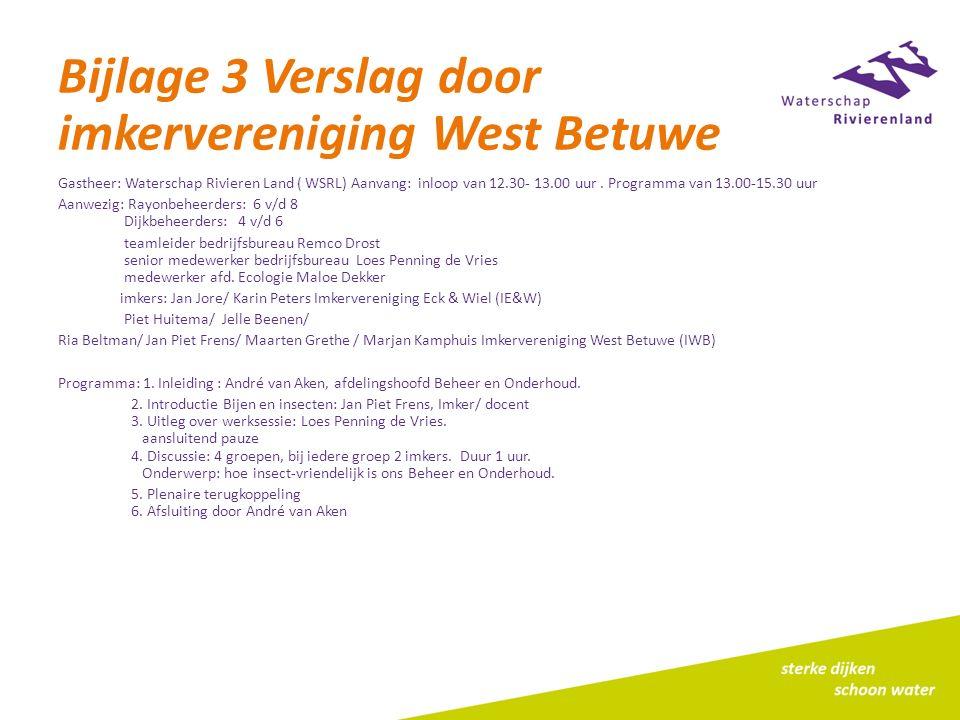 Bijlage 3 Verslag door imkervereniging West Betuwe Gastheer: Waterschap Rivieren Land ( WSRL) Aanvang: inloop van 12.30- 13.00 uur. Programma van 13.0