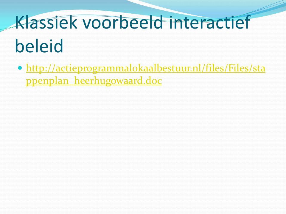 Klassiek voorbeeld interactief beleid http://actieprogrammalokaalbestuur.nl/files/Files/sta ppenplan_heerhugowaard.doc http://actieprogrammalokaalbest