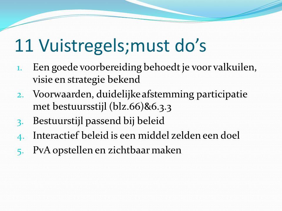 11 Vuistregels;must do's 1. Een goede voorbereiding behoedt je voor valkuilen, visie en strategie bekend 2. Voorwaarden, duidelijke afstemming partici