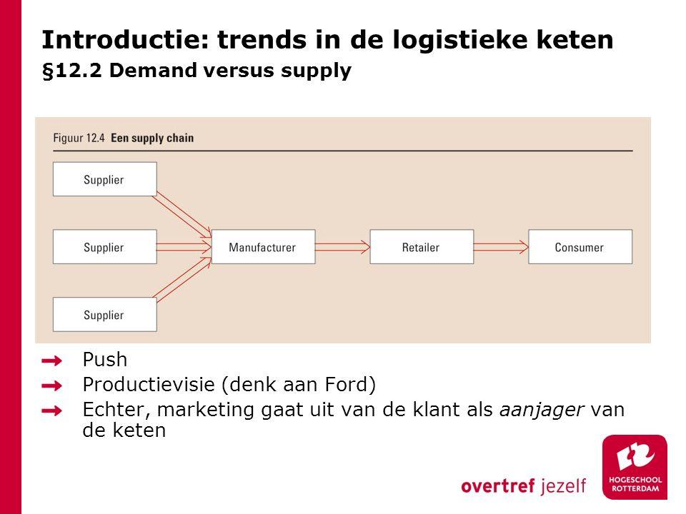 Introductie: trends in de logistieke keten §12.2 Demand versus supply Push Productievisie (denk aan Ford) Echter, marketing gaat uit van de klant als aanjager van de keten