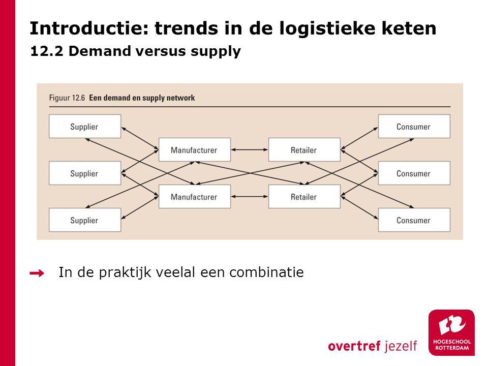 Introductie: trends in de logistieke keten 12.2 Demand versus supply In de praktijk veelal een combinatie
