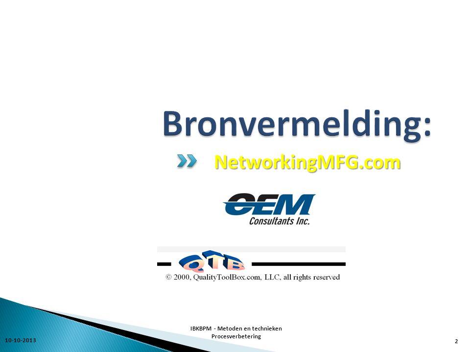 10-10-2013 IBKBPM - Metoden en technieken Procesverbetering 3 Processen die niet bijdragen aan organisatiedoelen  Maak die effectief & aligned