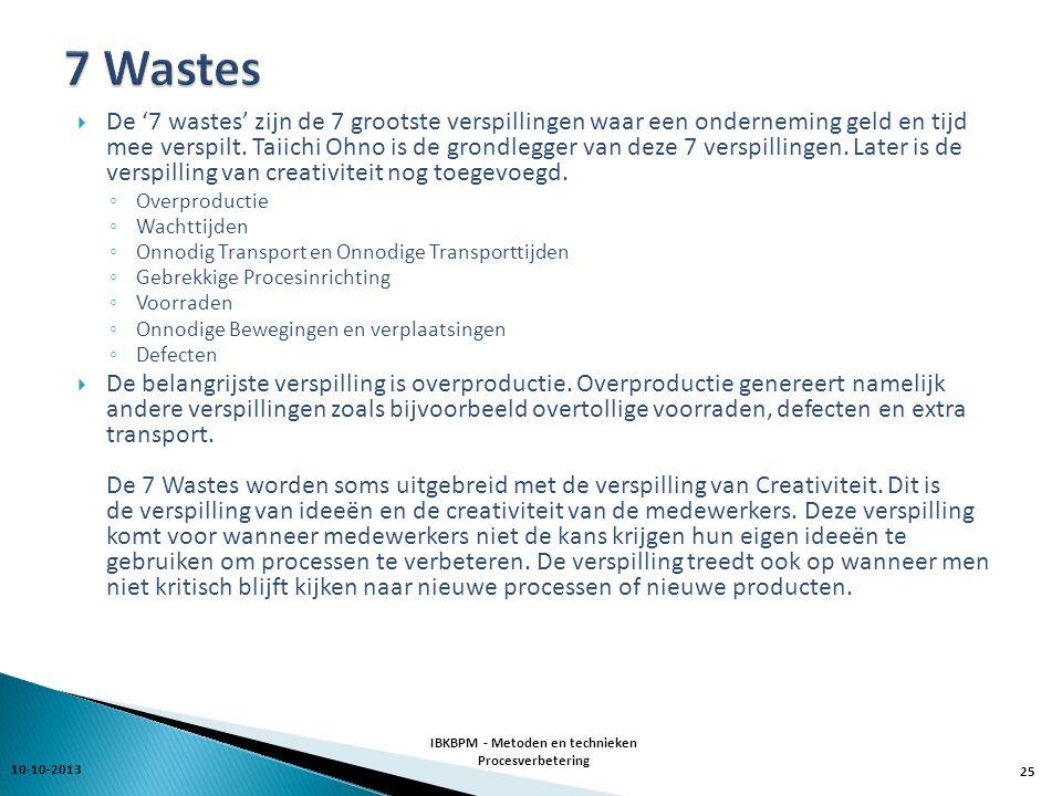  De '7 wastes' zijn de 7 grootste verspillingen waar een onderneming geld en tijd mee verspilt.