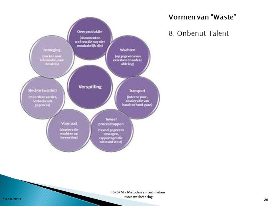 10-10-2013 IBKBPM - Metoden en technieken Procesverbetering 26 Vormen van Waste 8: Onbenut Talent