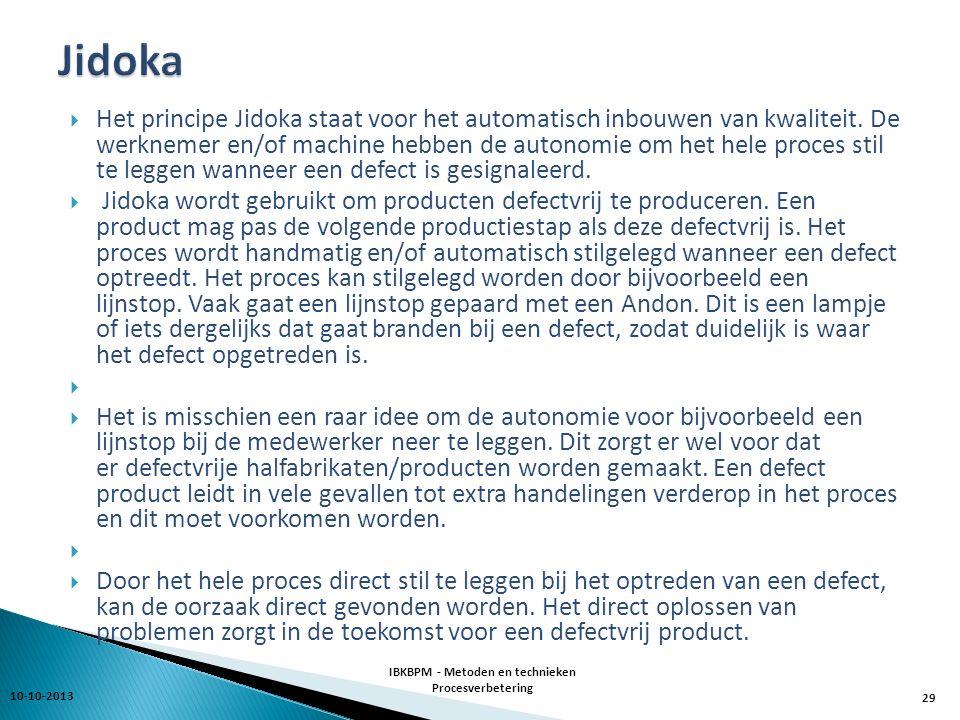  Het principe Jidoka staat voor het automatisch inbouwen van kwaliteit.