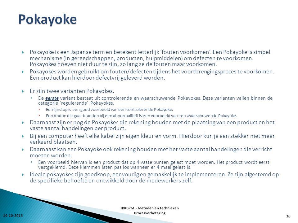  Pokayoke is een Japanse term en betekent letterlijk 'fouten voorkomen'.