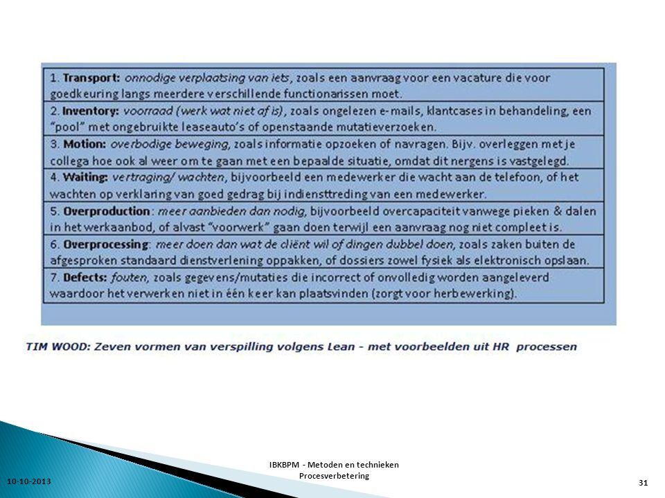 10-10-2013 IBKBPM - Metoden en technieken Procesverbetering 31