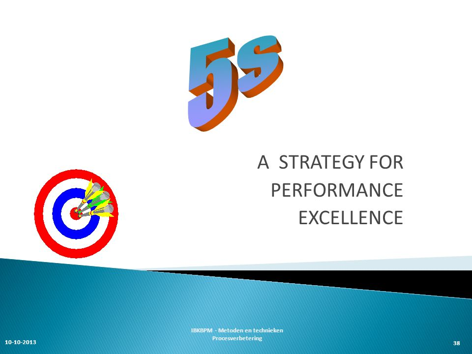 38 A STRATEGY FOR PERFORMANCE EXCELLENCE 10-10-2013 IBKBPM - Metoden en technieken Procesverbetering