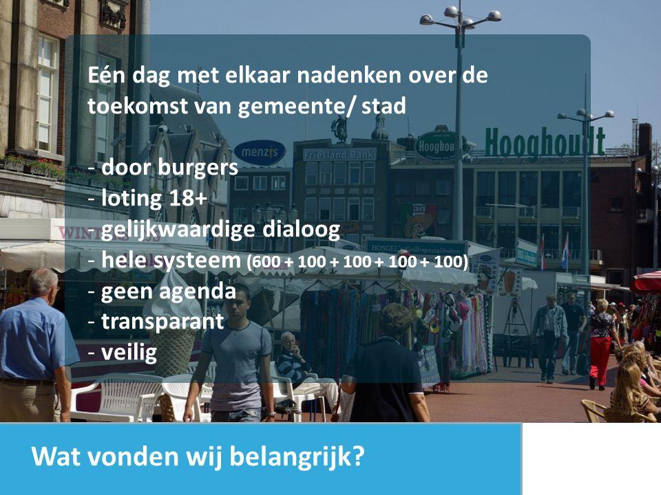 Eén dag met elkaar nadenken over de toekomst van gemeente/ stad - door burgers - loting 18+ - gelijkwaardige dialoog - hele systeem (600 + 100 + 100 + 100 + 100) - geen agenda - transparant - veilig Wat vonden wij belangrijk?