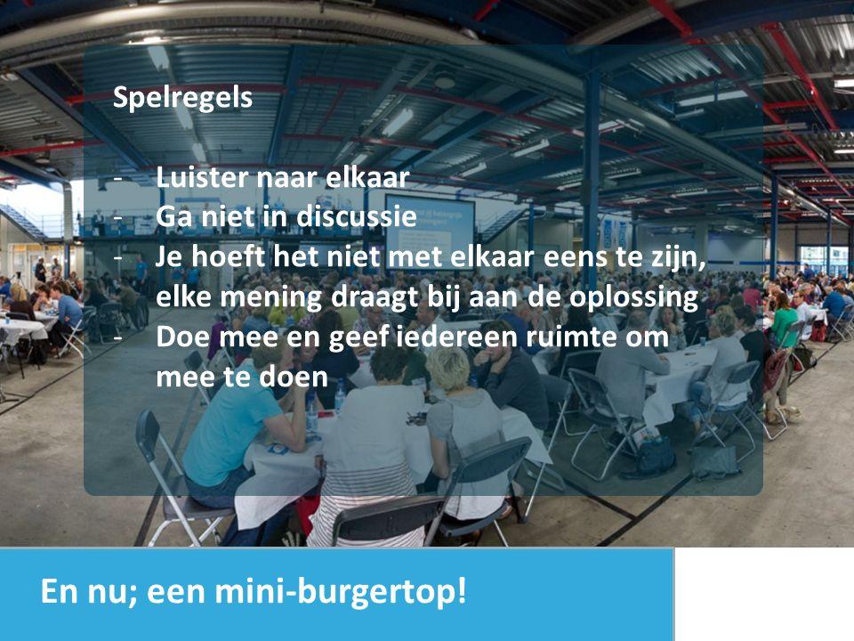 Ochtend: 3 x wereldcafe = agenda bepalen Ronde 1 Ga met 5 mensen aan een tafel zitten die je niet kent.