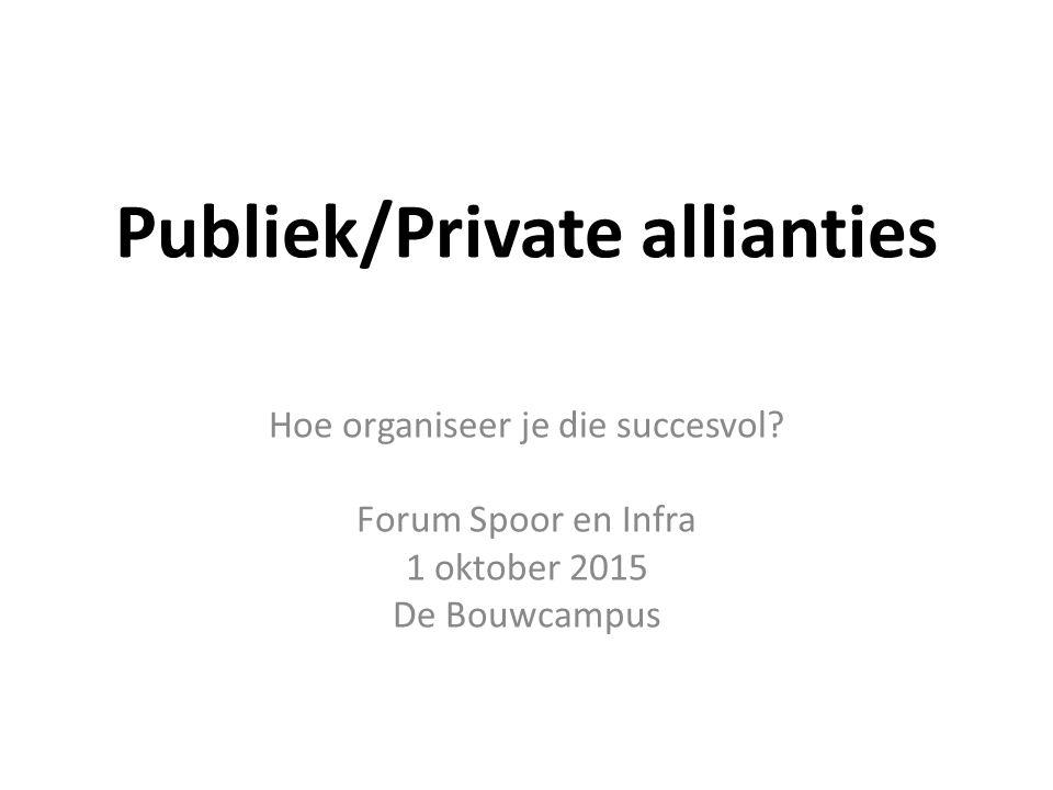 Publiek/Private allianties Hoe organiseer je die succesvol.