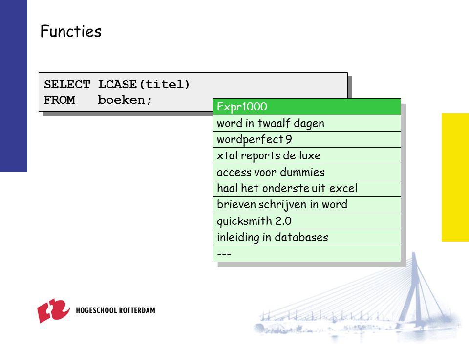 Functies SELECT LCASE(titel) FROM boeken; SELECT LCASE(titel) FROM boeken; Expr1000 word in twaalf dagen wordperfect 9 xtal reports de luxe access voor dummies haal het onderste uit excel brieven schrijven in word quicksmith 2.0 inleiding in databases ---