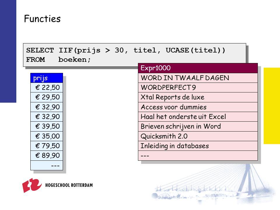 prijs € 22,50 € 29,50 € 32,90 € 39,50 € 35,00 € 79,50 € 89,90 --- Functies SELECT IIF(prijs > 30, titel, UCASE(titel)) FROM boeken; SELECT IIF(prijs > 30, titel, UCASE(titel)) FROM boeken; Expr1000 WORD IN TWAALF DAGEN WORDPERFECT 9 Xtal Reports de luxe Access voor dummies Haal het onderste uit Excel Brieven schrijven in Word Quicksmith 2.0 Inleiding in databases ---