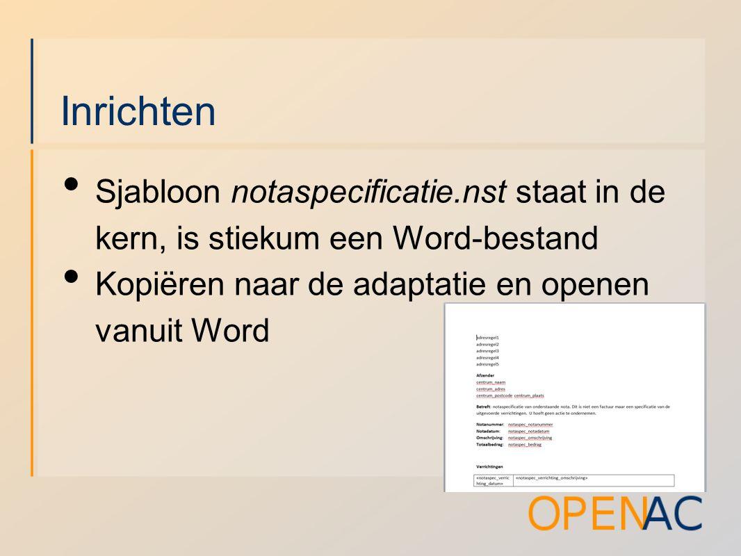 Inrichten Sjabloon notaspecificatie.nst staat in de kern, is stiekum een Word-bestand Kopiëren naar de adaptatie en openen vanuit Word