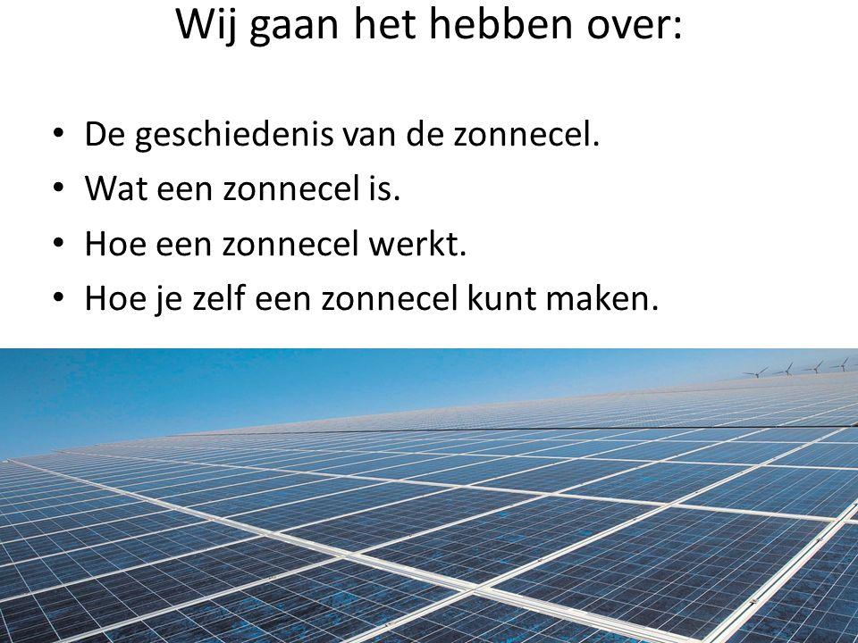 De geschiedenis van de zonnecel.Alexandre-Edmond Becquerel ontdekte fotovoltaïsch effect in 1839.