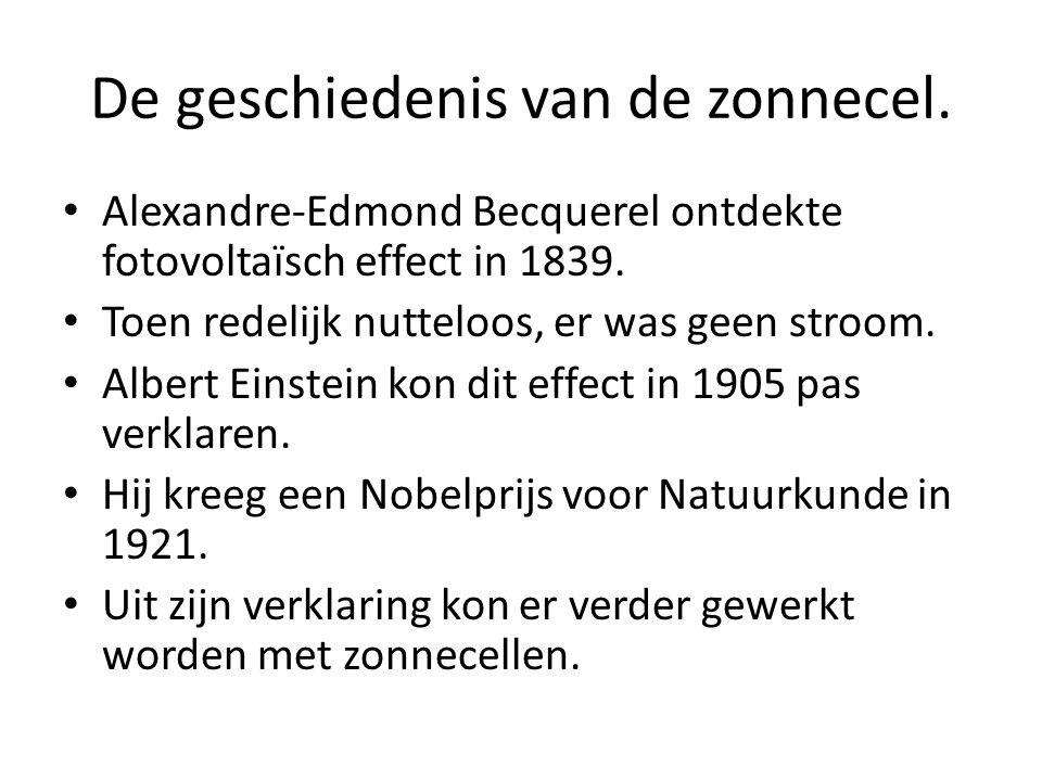De geschiedenis van de zonnecel. Alexandre-Edmond Becquerel ontdekte fotovoltaïsch effect in 1839. Toen redelijk nutteloos, er was geen stroom. Albert