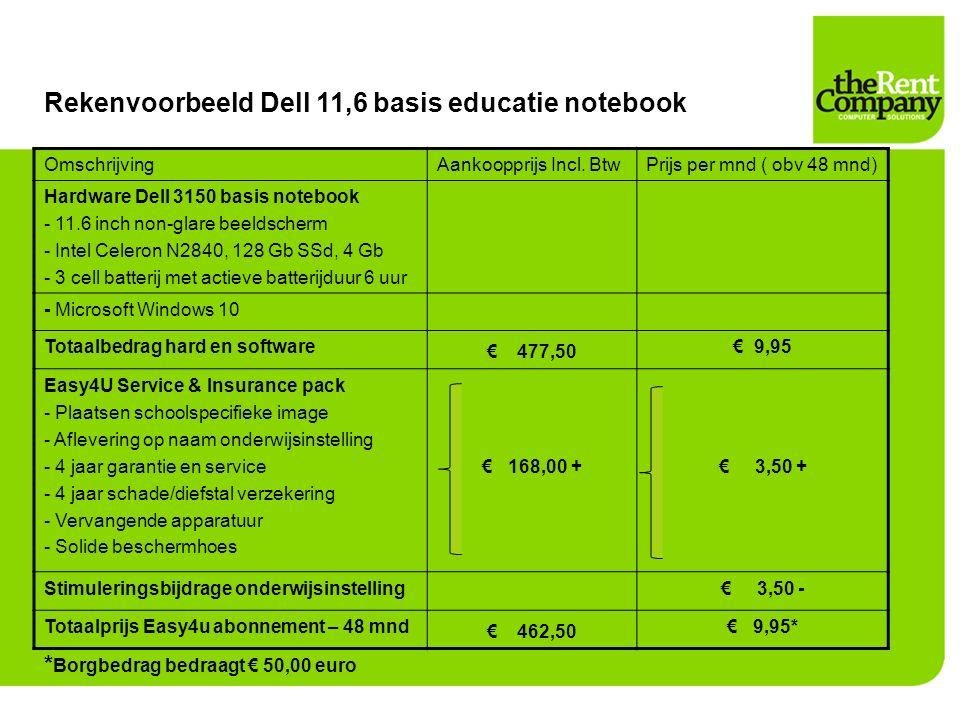 Rekenvoorbeeld Dell 11,6 basis educatie notebook OmschrijvingAankoopprijs Incl. BtwPrijs per mnd ( obv 48 mnd) Hardware Dell 3150 basis notebook - 11.