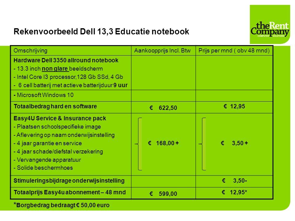 Rekenvoorbeeld Dell 13,3 Educatie notebook OmschrijvingAankoopprijs Incl. BtwPrijs per mnd ( obv 48 mnd) Hardware Dell 3350 allround notebook - 13.3 i