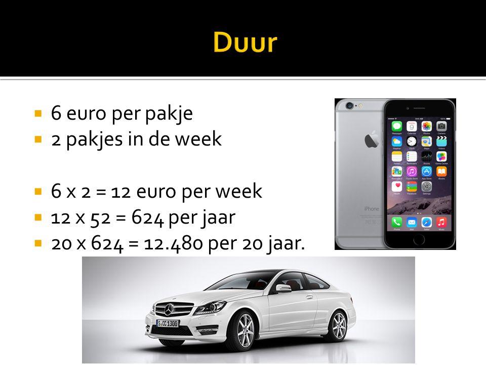  6 euro per pakje  2 pakjes in de week  6 x 2 = 12 euro per week  12 x 52 = 624 per jaar  20 x 624 = 12.480 per 20 jaar.