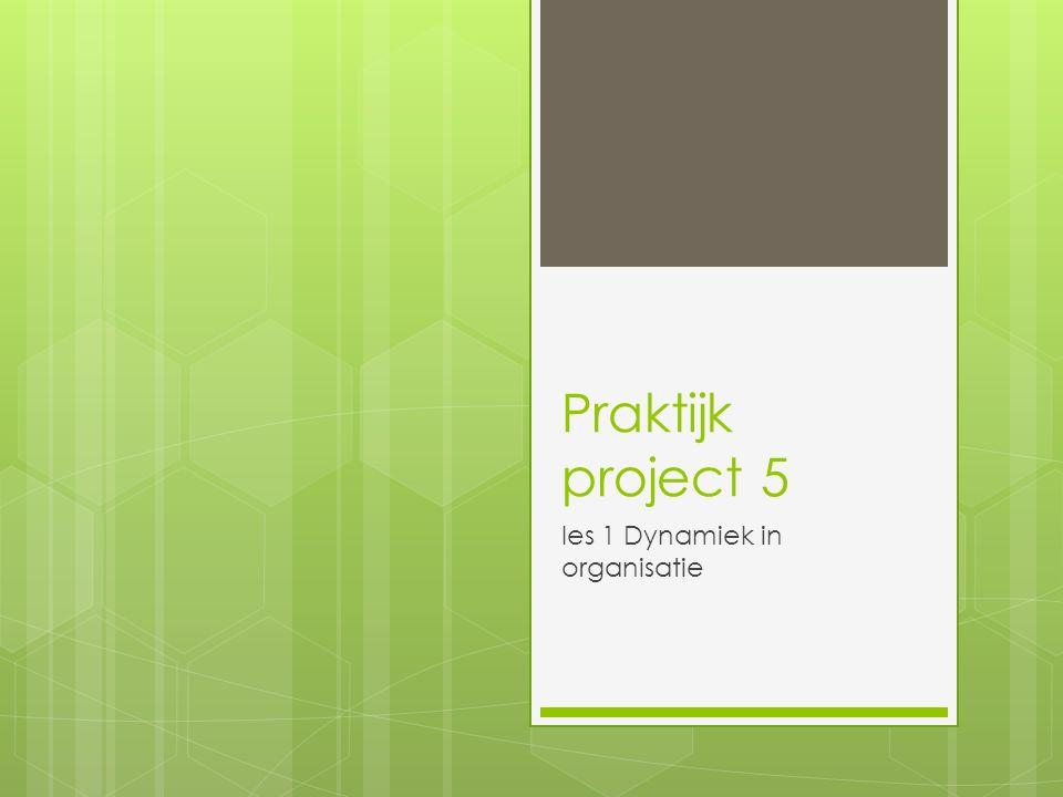 Praktijk project 5 les 1 Dynamiek in organisatie