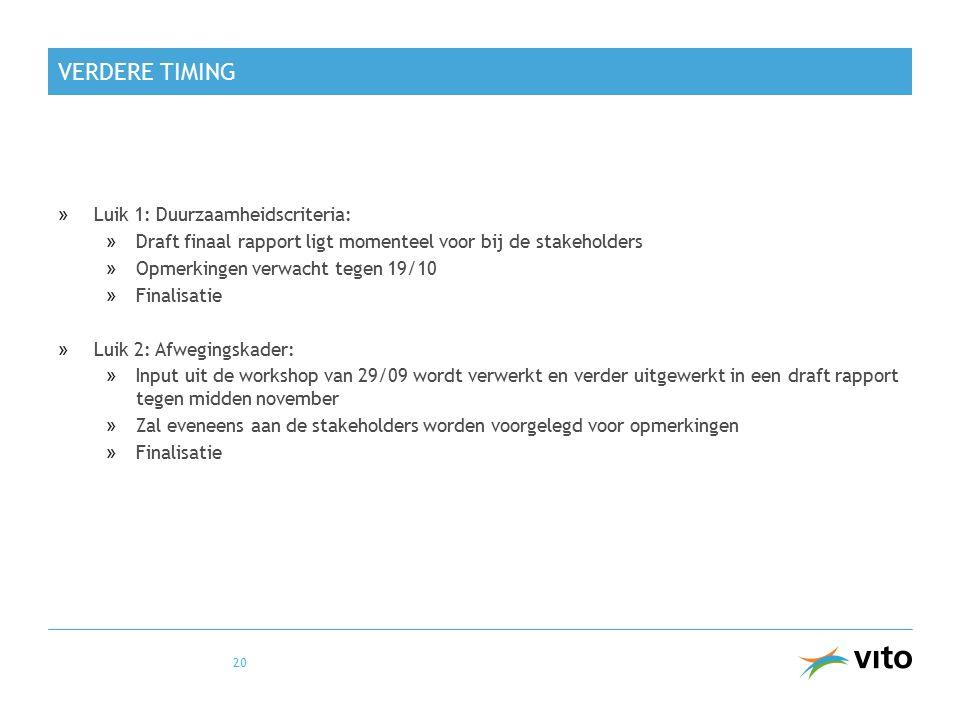 VERDERE TIMING »Luik 1: Duurzaamheidscriteria: »Draft finaal rapport ligt momenteel voor bij de stakeholders »Opmerkingen verwacht tegen 19/10 »Finali