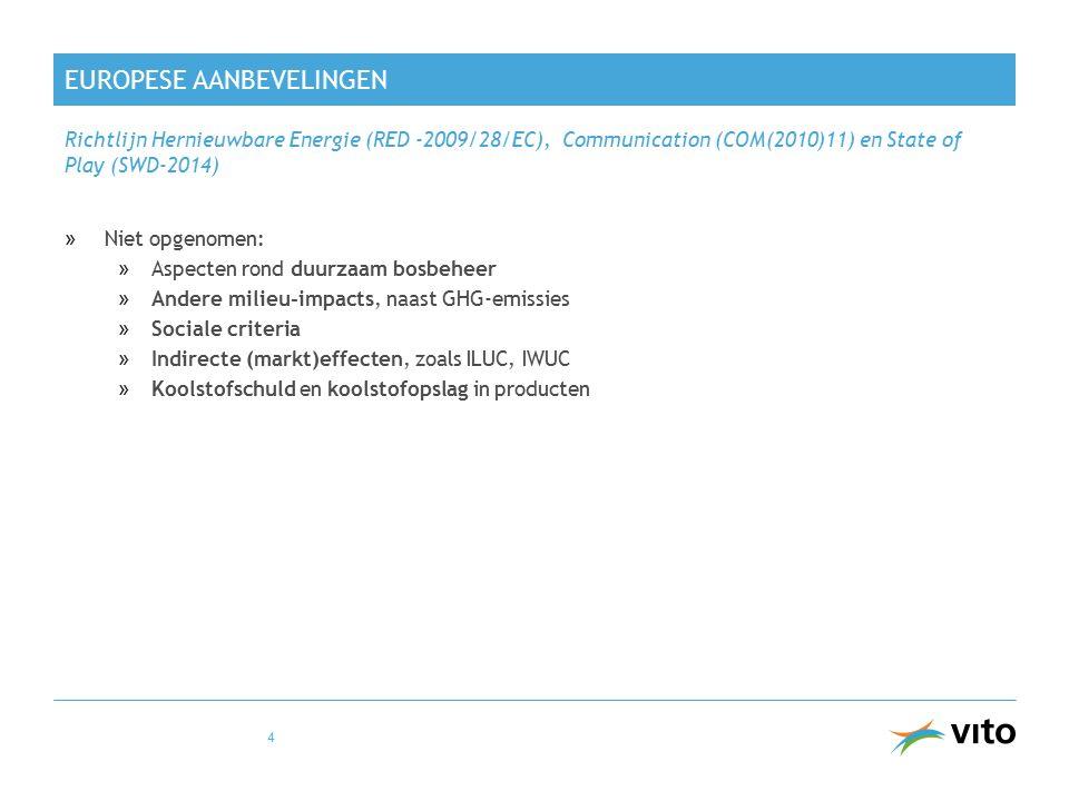 EUROPESE AANBEVELINGEN »Niet opgenomen: »Aspecten rond duurzaam bosbeheer »Andere milieu-impacts, naast GHG-emissies »Sociale criteria »Indirecte (markt)effecten, zoals ILUC, IWUC »Koolstofschuld en koolstofopslag in producten Richtlijn Hernieuwbare Energie (RED -2009/28/EC), Communication (COM(2010)11) en State of Play (SWD-2014) 4
