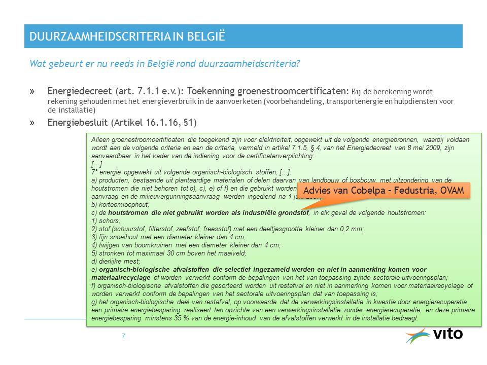 DUURZAAMHEIDSCRITERIA IN BELGIË »Energiedecreet (art. 7.1.1 e.v.): Toekenning groenestroomcertificaten: Bij de berekening wordt rekening gehouden met