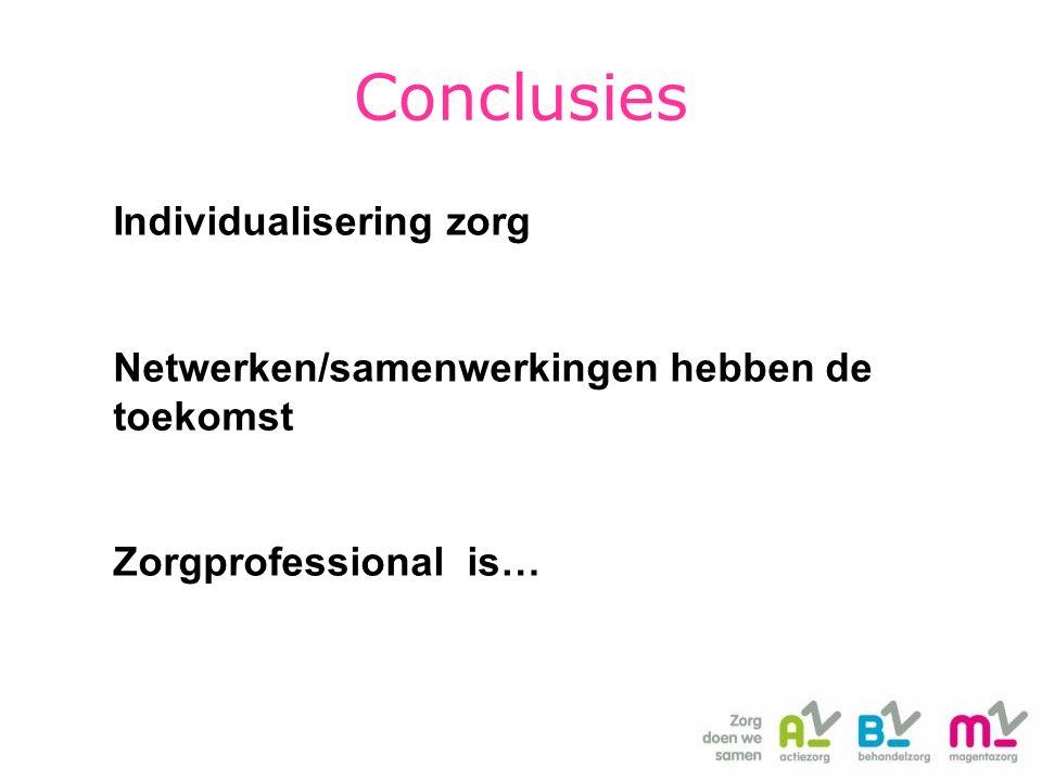 Individualisering zorg Netwerken/samenwerkingen hebben de toekomst Zorgprofessional is… Conclusies