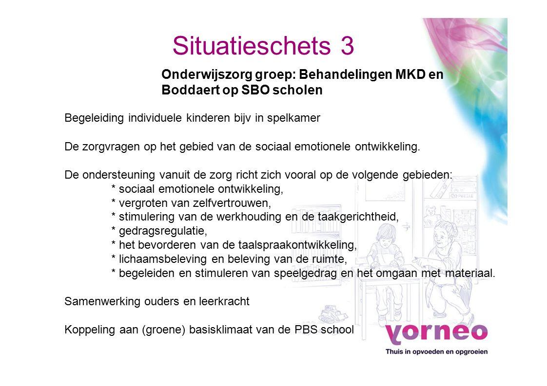 Situatieschets 3 Onderwijszorg groep: Behandelingen MKD en Boddaert op SBO scholen Begeleiding individuele kinderen bijv in spelkamer De zorgvragen op