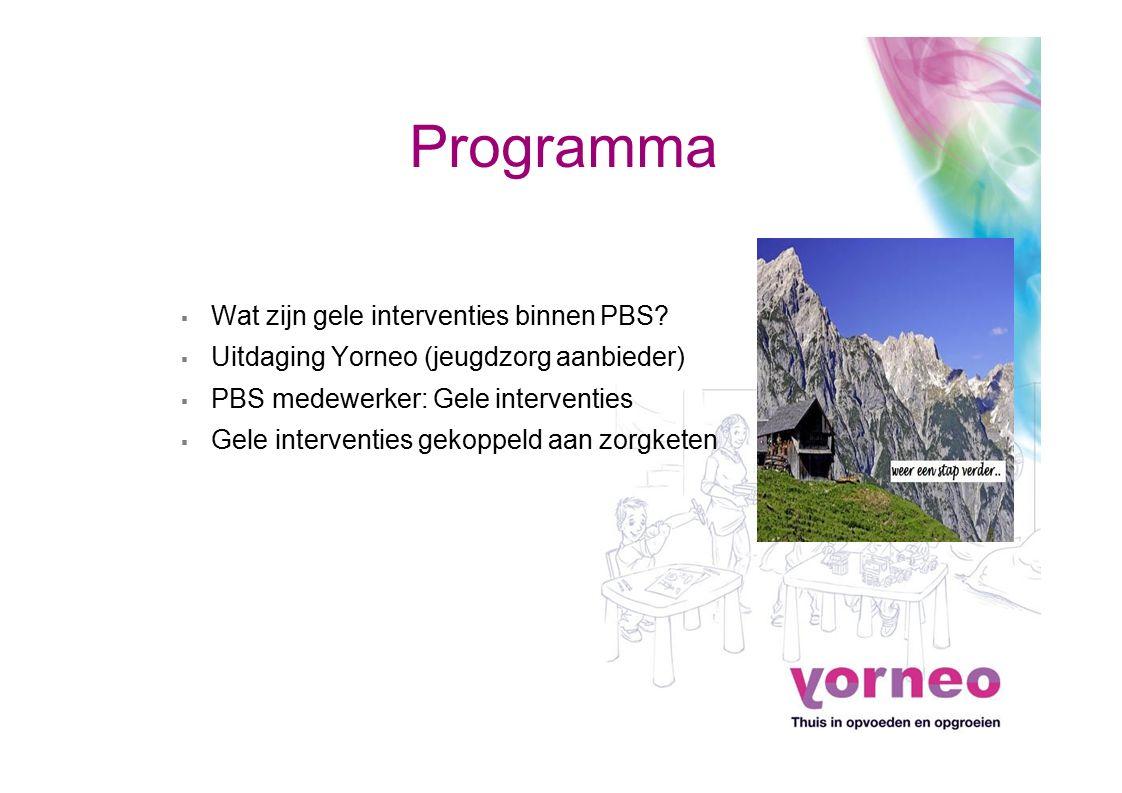 Programma ▪ Wat zijn gele interventies binnen PBS? ▪ Uitdaging Yorneo (jeugdzorg aanbieder) ▪ PBS medewerker: Gele interventies ▪ Gele interventies ge