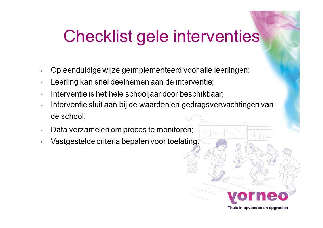 Checklist gele interventies ▪ Op eenduidige wijze geïmplementeerd voor alle leerlingen; ▪ Leerling kan snel deelnemen aan de interventie; ▪ Interventi