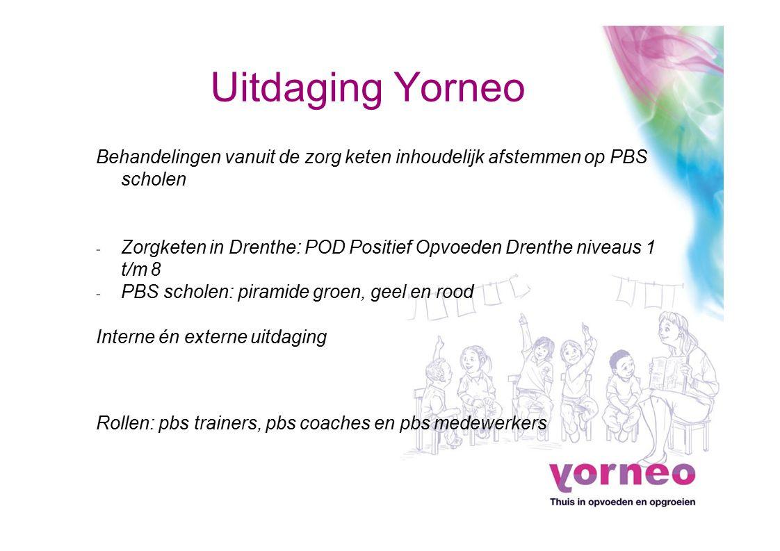 Uitdaging Yorneo Behandelingen vanuit de zorg keten inhoudelijk afstemmen op PBS scholen - Zorgketen in Drenthe: POD Positief Opvoeden Drenthe niveaus