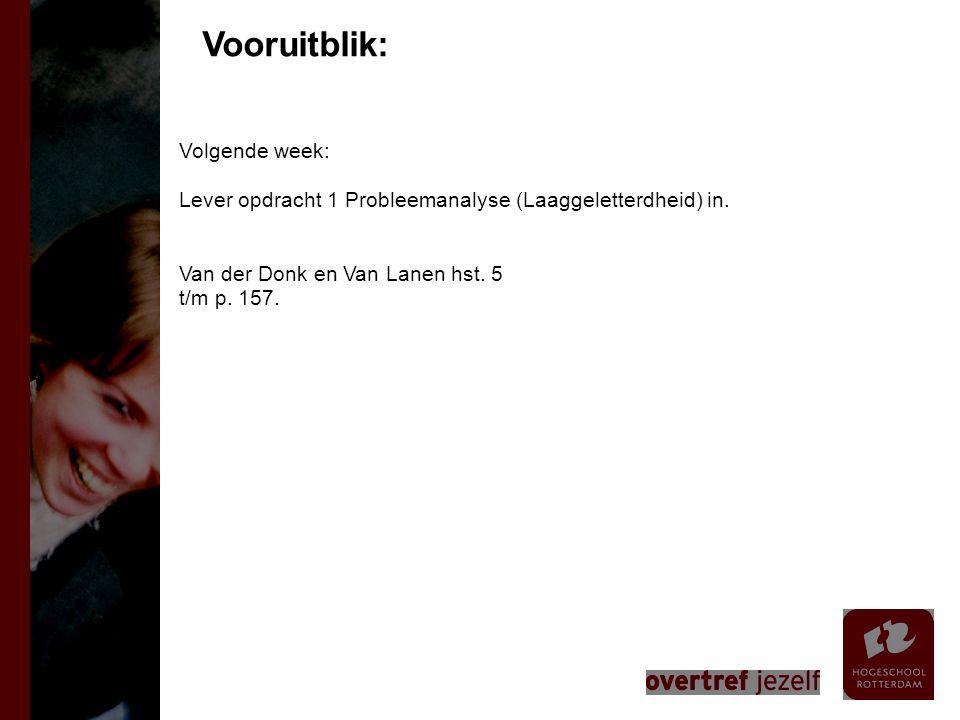Volgende week: Lever opdracht 1 Probleemanalyse (Laaggeletterdheid) in. Van der Donk en Van Lanen hst. 5 t/m p. 157. Vooruitblik: