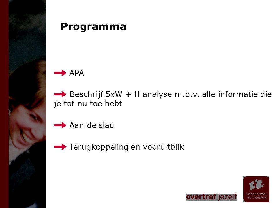 Programma APA Beschrijf 5xW + H analyse m.b.v. alle informatie die je tot nu toe hebt Aan de slag Terugkoppeling en vooruitblik