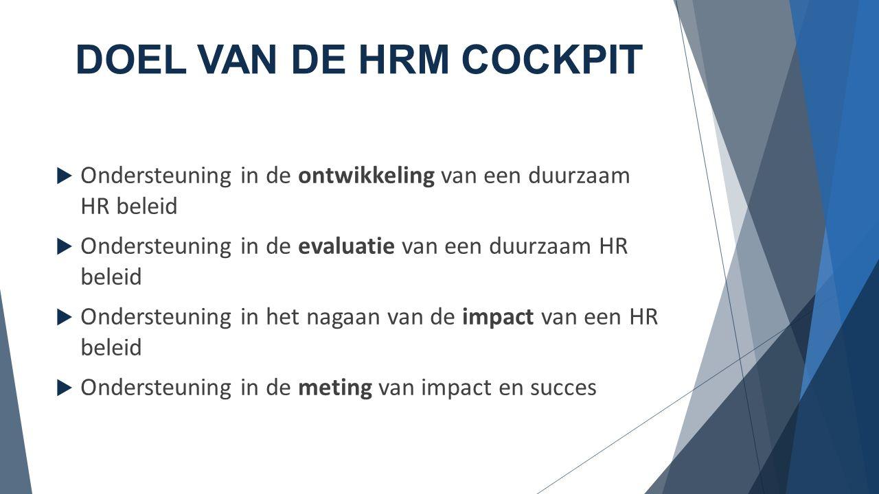 DOEL VAN DE HRM COCKPIT  Ondersteuning in de ontwikkeling van een duurzaam HR beleid  Ondersteuning in de evaluatie van een duurzaam HR beleid  Ondersteuning in het nagaan van de impact van een HR beleid  Ondersteuning in de meting van impact en succes