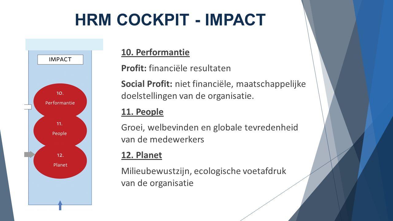 HRM COCKPIT - IMPACT 10. Performantie Profit: financiële resultaten Social Profit: niet financiële, maatschappelijke doelstellingen van de organisatie