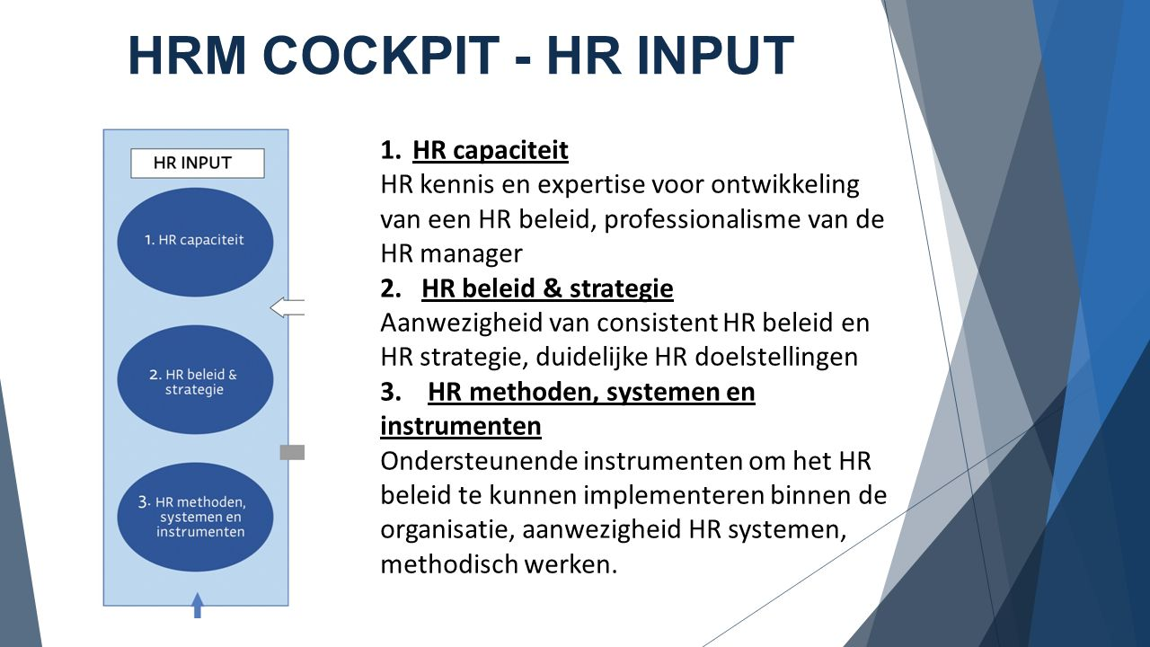 HRM COCKPIT - HR INPUT 1.HR capaciteit HR kennis en expertise voor ontwikkeling van een HR beleid, professionalisme van de HR manager 2. HR beleid & s