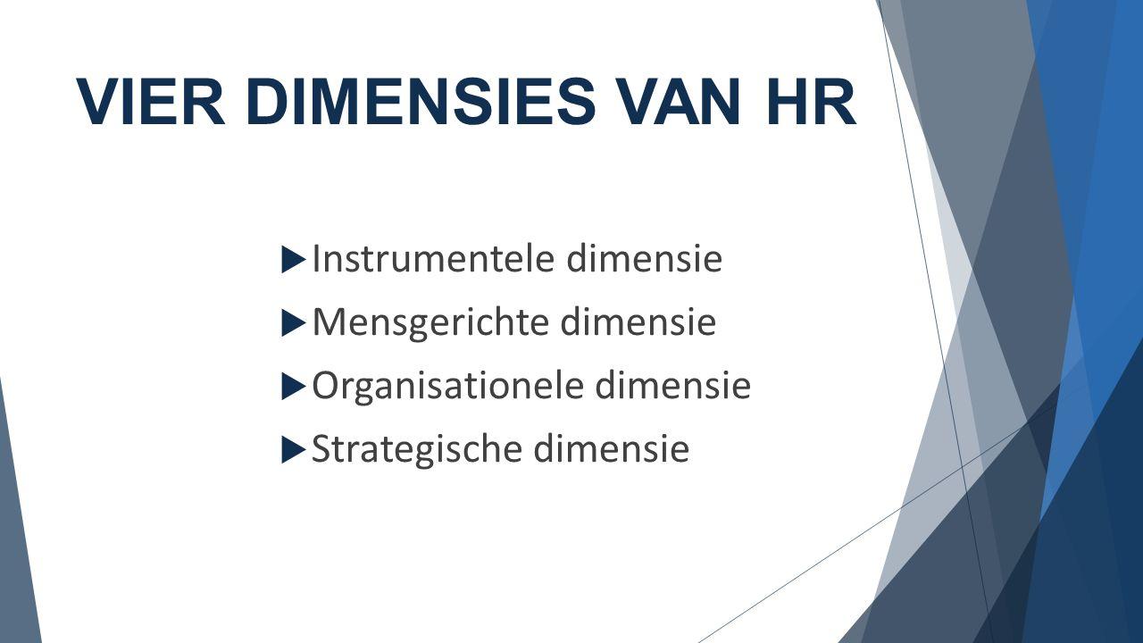 VIER DIMENSIES VAN HR  Instrumentele dimensie  Mensgerichte dimensie  Organisationele dimensie  Strategische dimensie