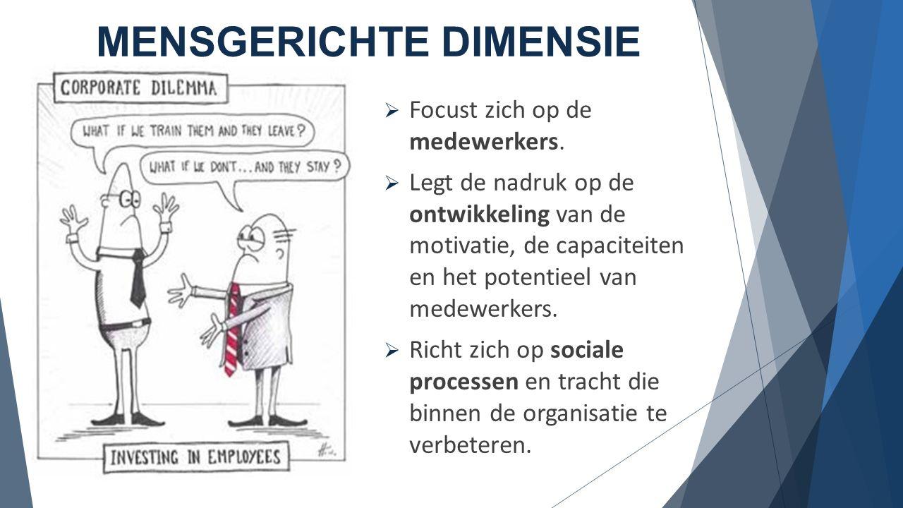 ORGANISATIONELE DIMENSIE  Focus op organisatiestructuur en organisatiecultuur  Ontwikkelen van structuren om medewerkers te ondersteunen en te laten samenwerken om een gemeenschappelijk resultaat te bereiken.