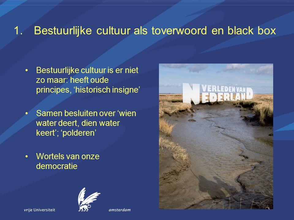 1.Bestuurlijke cultuur als toverwoord en black box Bestuurlijke cultuur is er niet zo maar: heeft oude principes, 'historisch insigne' Samen besluiten over 'wien water deert, dien water keert'; 'polderen' Wortels van onze democratie