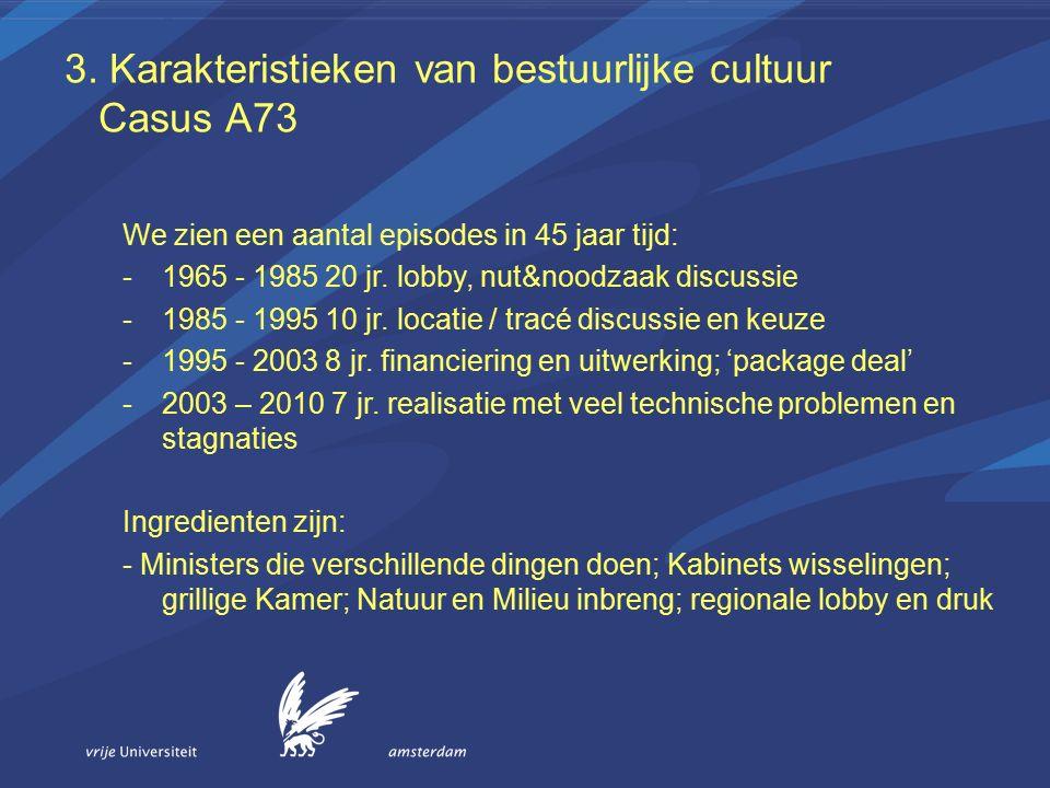 3. Karakteristieken van bestuurlijke cultuur Casus A73 We zien een aantal episodes in 45 jaar tijd: -1965 - 1985 20 jr. lobby, nut&noodzaak discussie